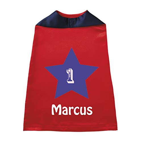 Baby Kids Personalized Superhero Cape Star 1 Boys-Girls Custom Halloween Cloak - Red, Custom -
