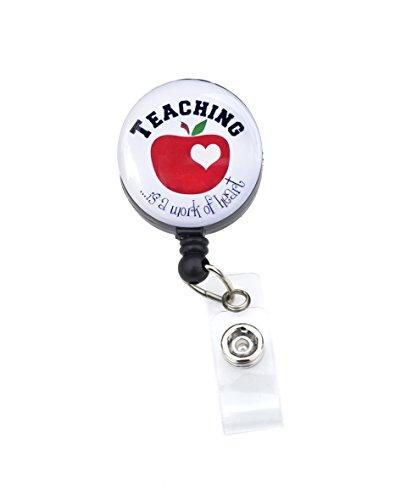 Sizzle City Rhinestone Badge Holder, Badge Clip, Nurse Badge Retractable ID Badge Reel, Name Tag (Alligator/Swivel Clip, Teacher Work of Heart)