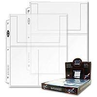 BCW Pro 3-Pocket Page 20 (veinte páginas) (4 x 6 tarjetas, postales o fotos), transparente