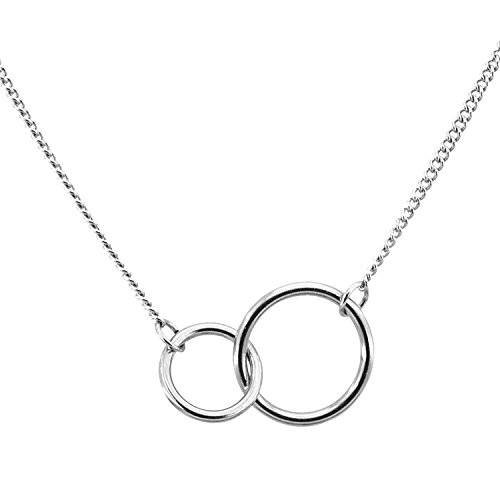 UEUC Mother Daughter Necklace Two Interlocking Infinity Circles Entwined Ring Necklace for Mothers -