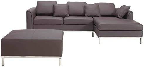 Beliani Oslo Modern Leather Sofa with Chaise and Ottoman, Brown