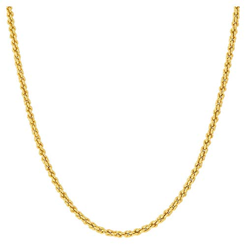 Hollywood Jewelry 14K Yellow or White Gold Solid 2mm Diamond Cut Rope Chain Necklace w/Real Strong Lobster Claw Clasp f/Men or Women Thin for Pendants 16-24inches (18)