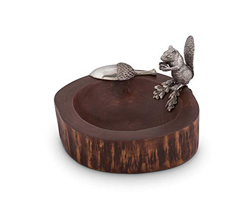 - Vagabond House Wood Nut/Candy Bowl with Standing Pewter Squirrel and Metal Pewter Scoop; 8.5
