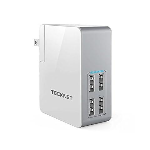 TeckNet 24W 4-Port Desktop Travel USB Wall Charger with BLUETEK Technology for iPhone 7 / 6s / 6 Plus, iPad Air 2 / Pro / Mini 3, Galaxy S8 / S7 / S6 Edge / Plus, Note 5 / 4, LG, Nexus, HTC and (Tecknet Iphone 5)