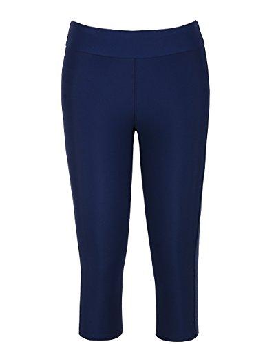 Hilor Women's UV Rash Guard Pants Crop Swim Leggings Sports Capri Tights Navy 20