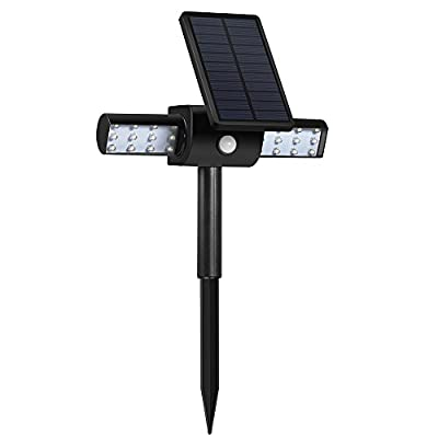 LBell 350° USB Solar Lights with Rotating Head Waterproof Outdoor Landscape Lighting Garden Light (White Light)