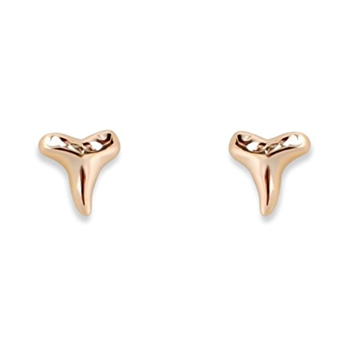 - Humble Chic Shark Tooth-Shaped Stud Earrings - Hypoallergenic Sterling Silver Dainty Tiny Post Ear Studs, 14K Yellow, Gold-Electroplated, Hypoallergenic