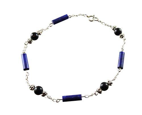 Kit Johnson Designs Black Tourmaline Anklet with Lapis Cylinder Beads, 9