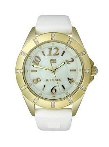 Tommy Hilfiger Three-Hand Gold and White Silicone Women's watch #1781321