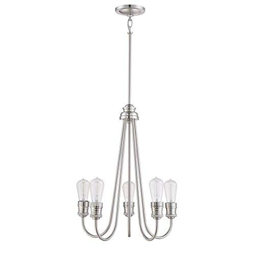 Soho 23.75-in 5-Light Brushed Nickel Industrial Clear Glass Tiered Chandelier