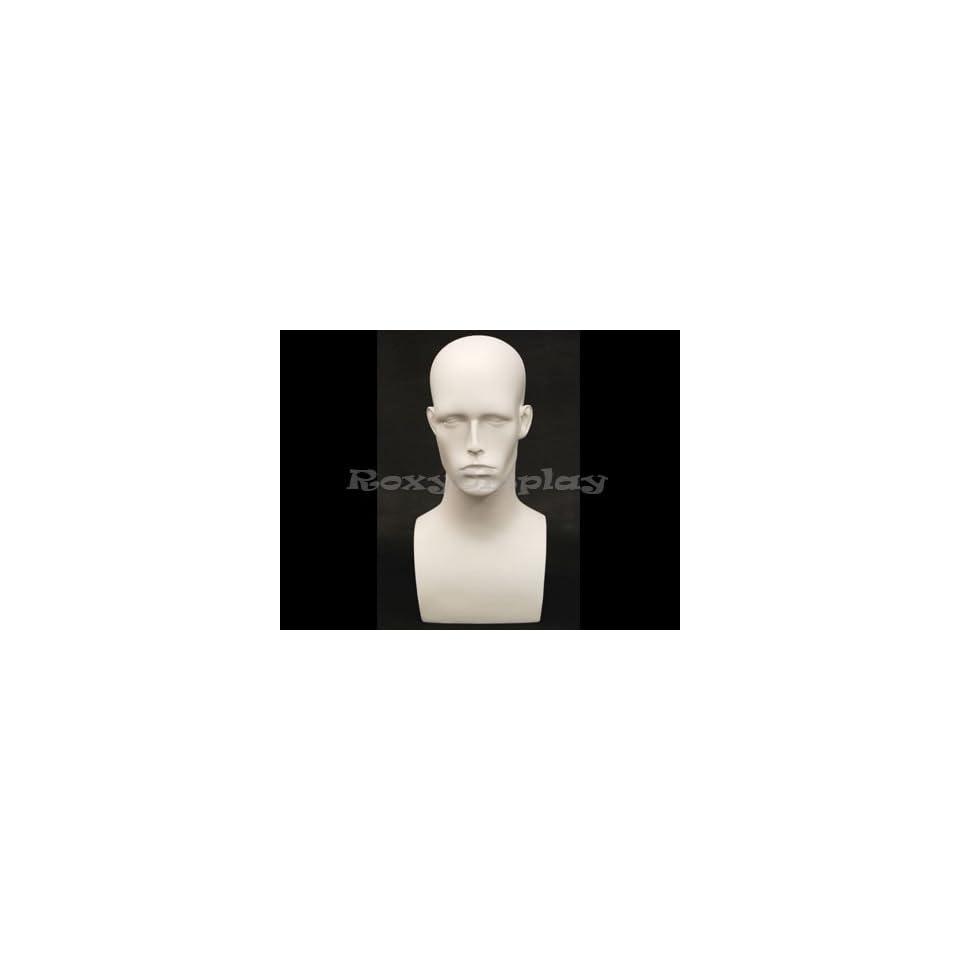 (MD EraW2) Roxy Display Matte White Male Mannequin Head