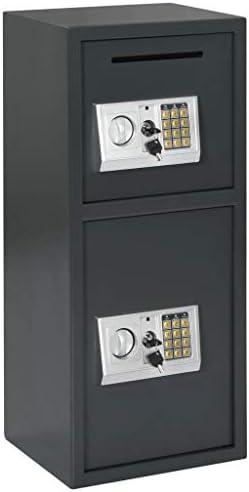 N/O Viel Spaß beim Einkaufen mit Digitaler Tresor mit Doppeltür Dunkelgrau 35 x 31 x 80 cm