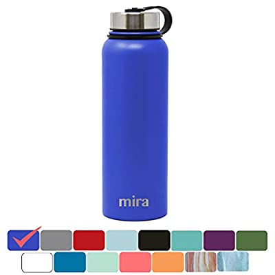 MIRA Stainless Steel Vacuum Insulated Wide Mouth Water Bottle   Thermos Flask Keeps Water Stay Cold for 24 Hours, Hot for 12 Hours   Metal Bottle BPA Free Cap