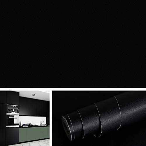 "Solid Black Contact Paper for Cabinets Removable Wallpaper Peel and Stick Countertop Old Furniture Decorations Matte Black Vinyl Adhesive Shelf Liners for Kitchen Cabinets 15.8""x78.8""Roll"