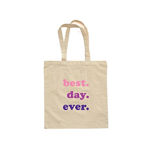 Super Cute Best Day Ever Natural Canvas Tote Bag With Pink and Purple (One Size)