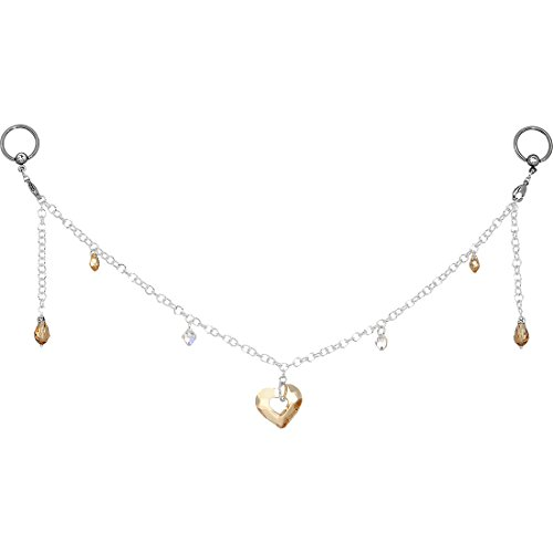 Nipple Chain - Salted Caramel Heart BCR Nipple Chain Created with Swarovski Crystals