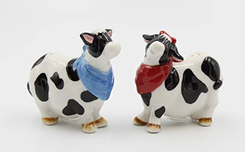 Fine Ceramic Black and White Milk Cow with Red and Blue Bandana Salt & Pepper Shakers Set, 3-1/2