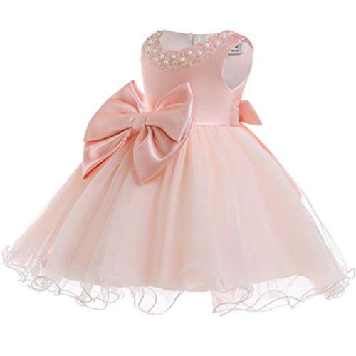 KILO&METERS Pink Formal Prom Summer Wedding Girls Dresses A-line Sleeveless Knee Length Tutu Ruffle Kids Dress Princess Christeing Birthday Party Baby Dress 18M