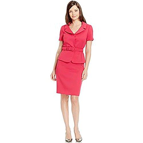 Tahari ASL Womens Petites Renee Textured Short Sleeves Skirt Suit Pink 10P