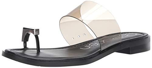 Calvin Klein Women's Tamar Flat Sandal, Black Patent/Lucite, 7 M US