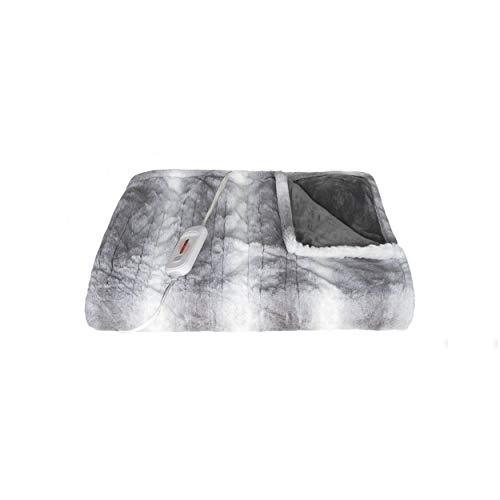 "Faux Fur Heated Throw 50""X60"" - Grey/White"