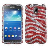 MyBat Diamante Protector Cover for Samsung i537 (Galaxy S4 Active) - Retail Packaging - Zebra Skin (Silver/Red)