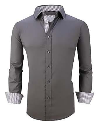 Esabel.C Men's Dress Shirts Long Sleeve Regular Fit Business Casual Button Down Shirts Charcoal Grey M