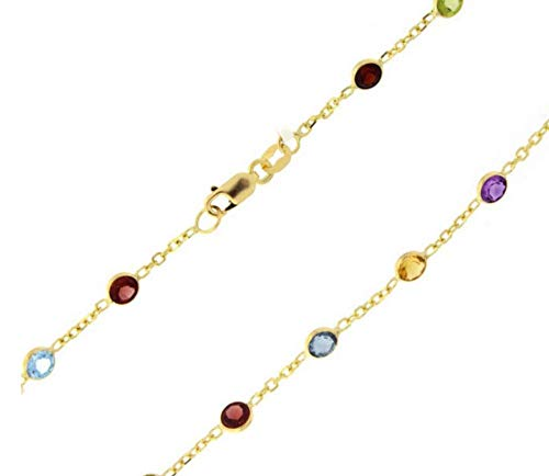 14kt Yellow or White Gold Cable Chain +Multi Color Round Faceted Station Stone (White, 16)