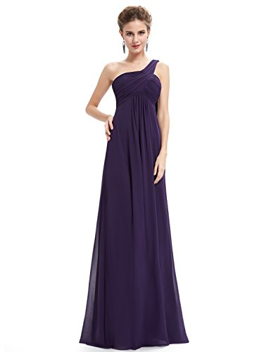 Ever-Pretty Womens One Shoulder Floor Length Evening Dress 20 US Purple