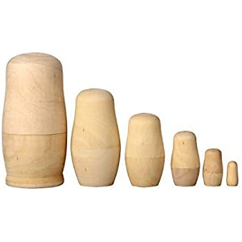 LittleTiger Set Of 6pcs Unpainted Russian Nesting Doll , Blank Doll , Make  Your Own Doll