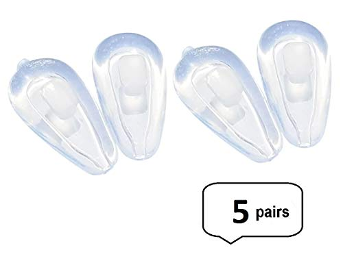 (AM Landen Premium Quality Soft Silicone 5 pairs 15mm Air Chamber Push-in Eyeglass Nose)