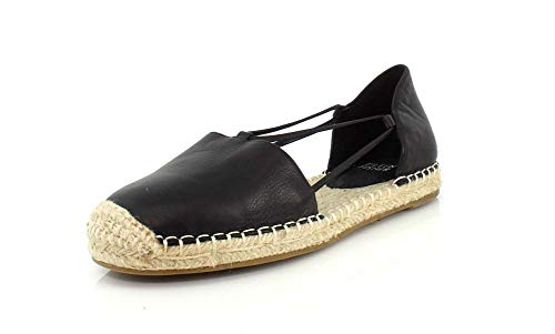 (Eileen Fisher Womens Lee Washed Leather Espadrille Black Washed Leather Flat - 10 )