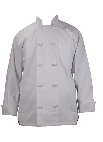 Chef's Pride Unisex Chef Coat - Double Breasted Long Sleeve Chef Jacket with Cloth Knotted Buttons- Poly Cotton Blend Cloth Button Chef Coat