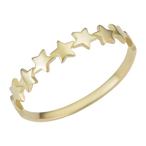 Kooljewelry 14k Yellow Gold Row of Star Cluster Minimalist Ring (size 4)