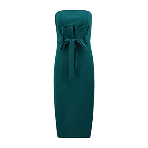 Sash Bandeau - Giulot Women's Sexy Bandeau Strapless Wrap Bodycon Business Workwear Mini Dress for Cocktail Evening Gown Tea Party Green