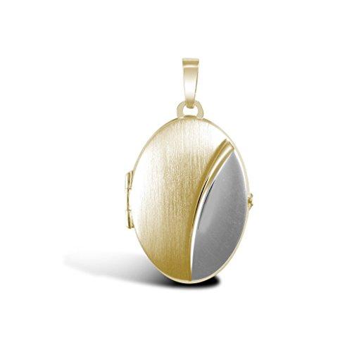 Pendentif médaillon ovale en or 9ct Jaune et Blanc