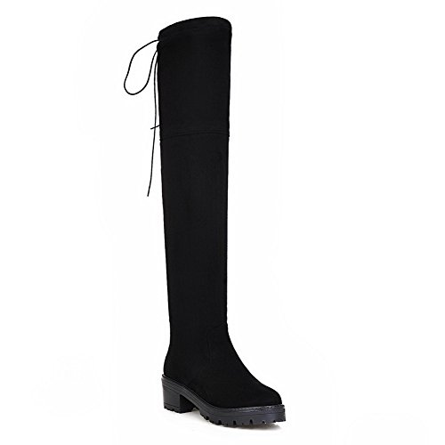 Suede On Slip Boots Pull Black AdeeSu SXC02193 Platform Resistant Womens x4YwOEXq
