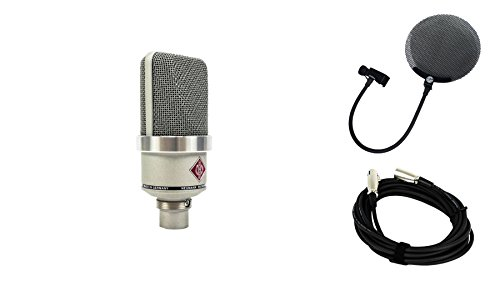 Neumann TLM 102 Nickel Microphone Bundle with 20-foot XLR Cable & Pop Filter (3 Items) ()
