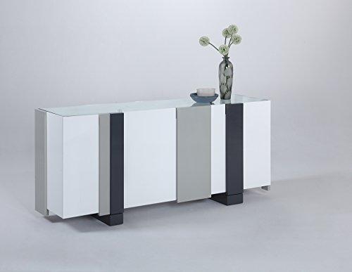 Milan Sheila Clear/White Modern Four-Door Buffet - Modern Buffet Cabinet