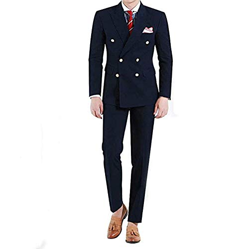 RONGKIM Men's 2 Piece Slim Fit Suit Double Breasted Wedding Groom Formal Prom Party Tuxedo ()