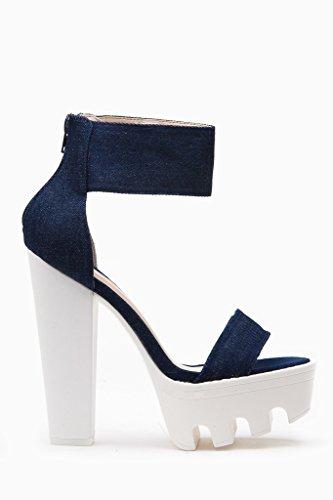 Wild Diva Vive Lugsole Platform High Heels Thick Sandals Shoes Dark Denim 7