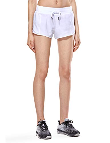 CRZ YOGA Women's Workout Running Sports Shorts with Pocket - 2.5 Inches White - 2.5'' L(12) ()