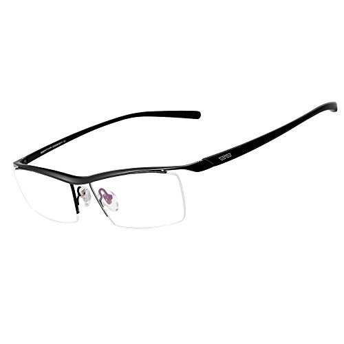 Bertha Men Z Pure Titanium Semi-rimless Eyeglasses Business Optical Frame 8189 (Black) - Black Optical Frame