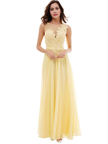 Tanpell Womens Concise Sheer Neckline Appliques Lace-Up Prom Evening Dress Daffodil US14