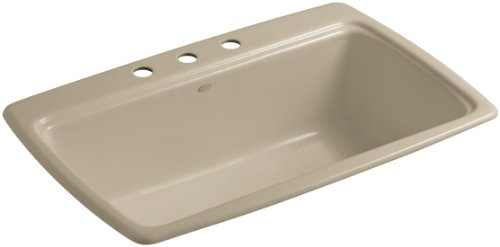 Kohler K-5863-3-33 Cape Dory Self-Rimming Kitchen Sink with Three-Hole Faucet Drilling, Mexican Sand