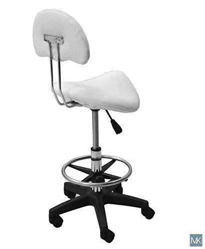 Esthetician Technician Stool Kelly WHITE Chair for Spa Salon Medical Office