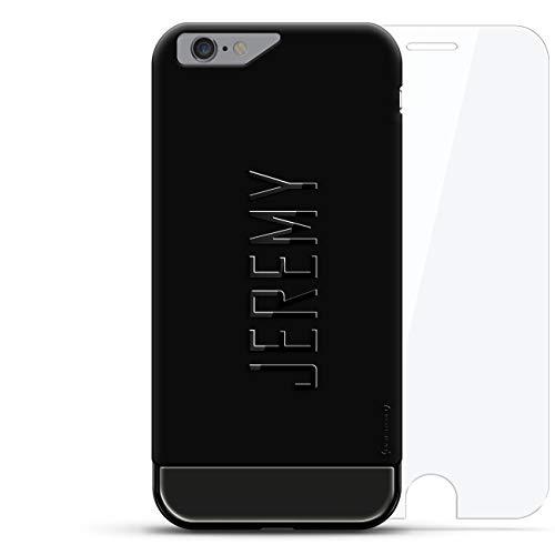 Luxendary Designer, 3D Printed, Fashion, High End, Premium, 24K Series, 360 Degree Protecting Cell Phone Case for iPhone 6/6S - Velvet Black & Titanium Black, Jeremy, Modern Font First ()