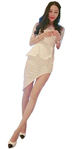 学習茎曲げるKimBerley レース オフショルダー ペプラム タイト ミニ ワンピース セクシー フォーマル パーティー キャバドレス ナイトドレス キャバ嬢