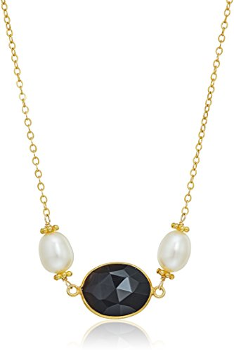 Gold Over Silver Chain Necklace with Black Spinel Beads and Rice White Cultured Freshwater Pearls Necklace, 18