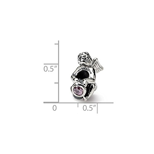 Solid .925 Sterling Silver Reflections October CZ Antiqued Bead 16.36 mm Cubic Zirconia Antiqued Bead